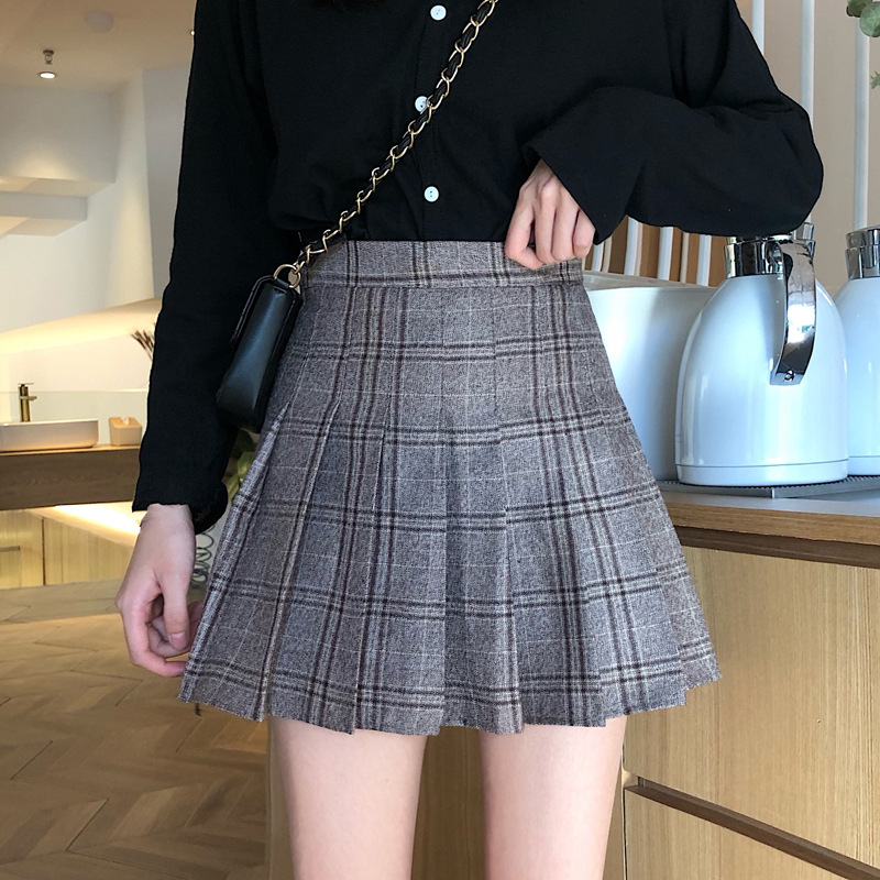 Photo Shoot Net Price Pleated Skirt New Style Korean-style High-waisted Plaid Skirt Women's Autumn And Winter Skirt Slimming A-