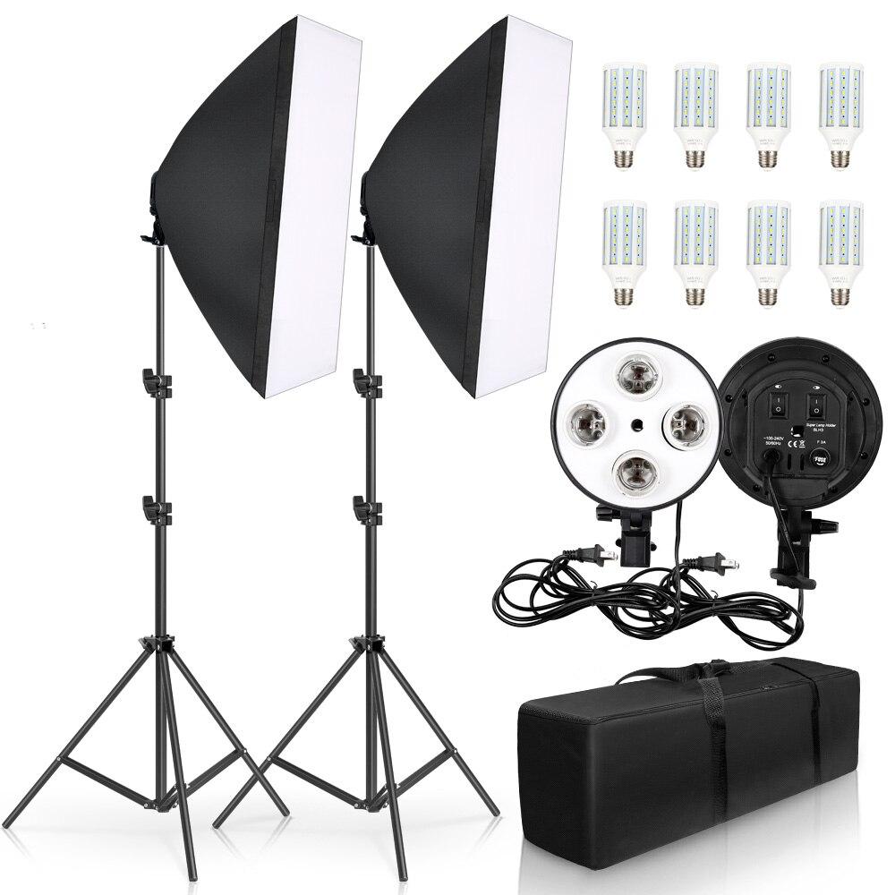 Photographie 50x70CM quatre lampe Softbox Kit système d'éclairage continu boîte souple accessoires Photo Studio équipement