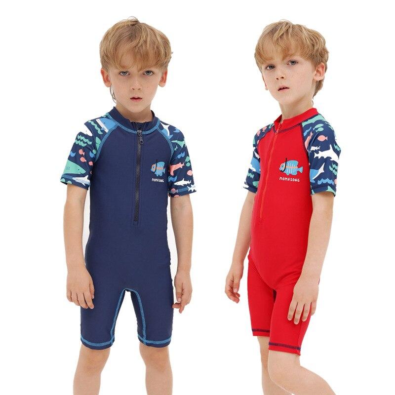 KID'S Swimwear New Style Children One-piece Short Sleeve Tour Bathing Suit Men And Women Children Swimwear Sun-resistant Quick-D
