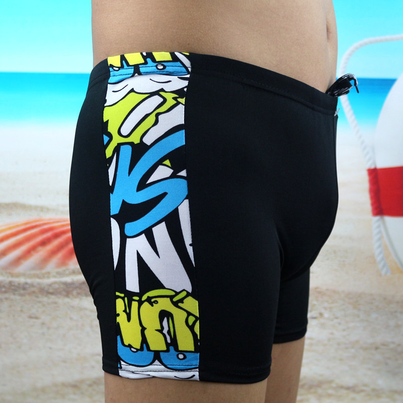 Swimming Trunks Korean-style Slim Fit MEN'S Swimming Trunks Fashion Printed Boxer Plus-sized Lace-up Hot Springs Swimming Trunks