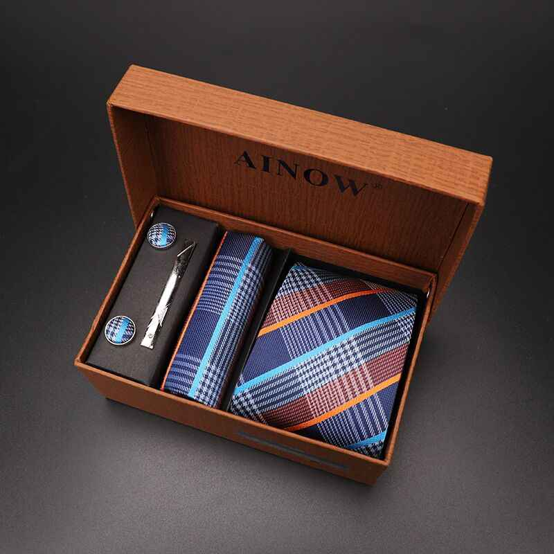 Ensemble cravate 4 pièces hommes à fleurs cravate à carreaux cravate cadeau mariage rouge rayé 8cm bleu marine Jacquard tissé noir solide Camouflage
