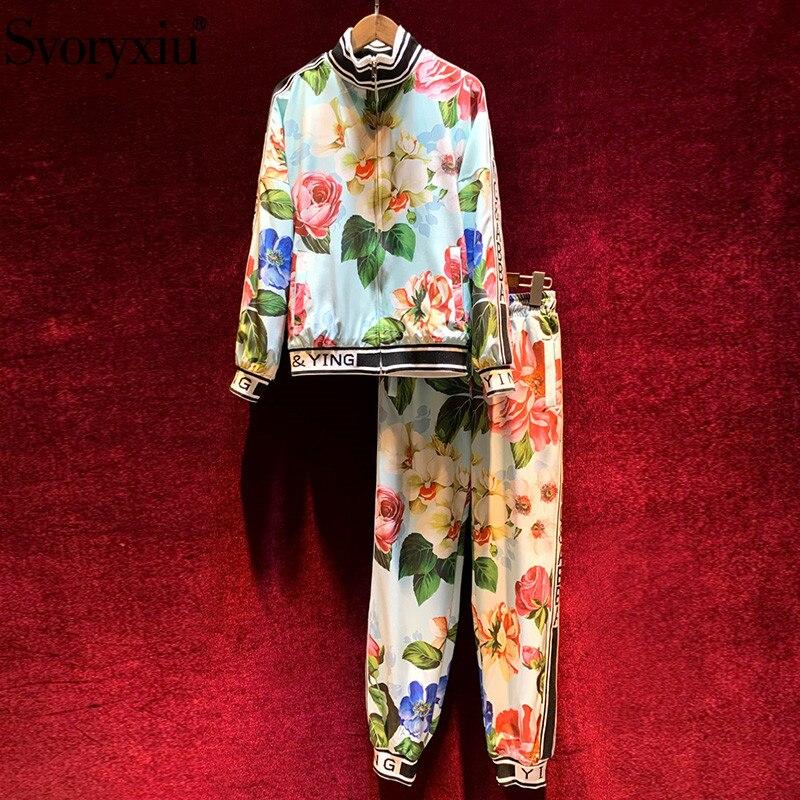 Svoryxiu wybieg mody jesienno zimowy dorywczo zestaw spodni damski z długim rękawem kwiat z powłoką drukowaną + elastyczne spodnie dwuczęściowy zestaw Zestawy damskie    - AliExpress