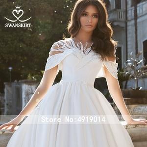 Image 3 - Stunning Satin Wedding Dress 2020 Swanskirt Beaded A Line Crystal Belt Court Train Bridal gown Illusion Vestido de noiva VY01