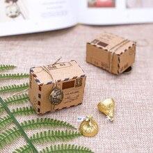 10 Uds. Caja de dulces Vintage para boda diseño de sello de Chocolate embalaje de papel Kraft regalo embalaje recuerdos de Navidad suministros para fiestas