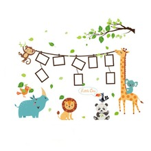 Giraffe photo wall sticker children room cartoon animal photo frame decoration wall sticker Sticker Decorative Painting цена