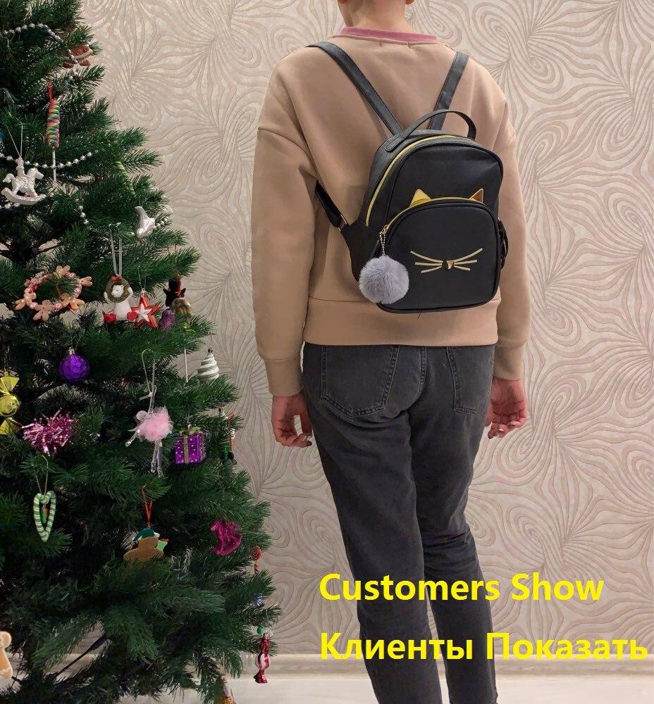 Женский маленький рюкзак MAIOUMY, милая Наплечная Сумка с кошками, женская сумка-Кроссбоди с меховыми помпонами для девочек-подростков, модная сумка, 2020-5