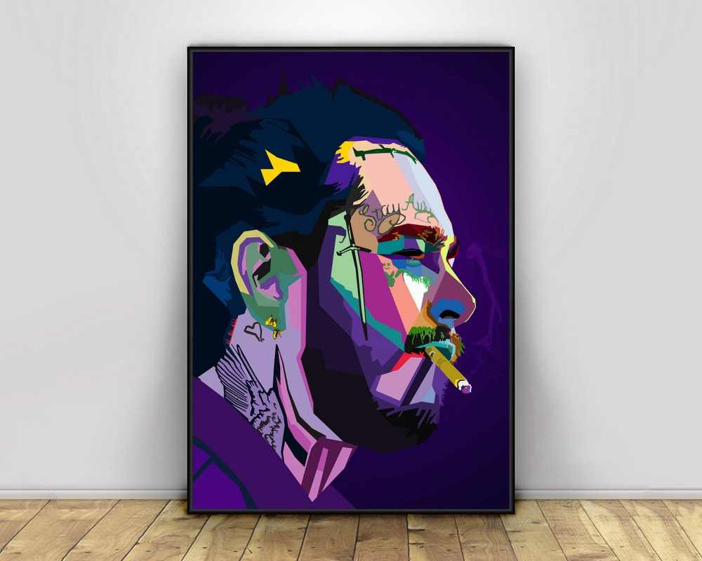post malone pop art hiphop rapper music singer poster print wall art canvas painting home decor canvas print no frame 1