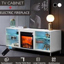 Console Cabinet-Unit Storage Tv-Stand Electric-Fireplace Home-Furniture Modern with Blue