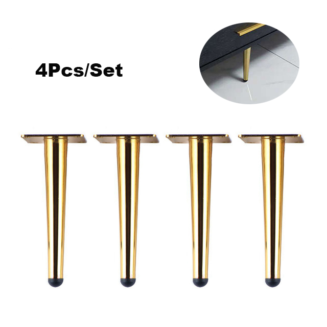 4 Pieces Of Metal Furniture Feet 20cm, Table, Cabinet Feet, Sofa Bed, TV Cabinet Feet With Mounting Screws, Gold Straight Feet