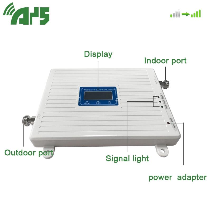 GSM 2G 3G 4G Amplificateur De Téléphone Portable Tri Bande Mobile Amplificateur de Signal Cellulaire LTE Répéteur GSM DCS WCDMA 900 1800 2100 Ensemble - 4