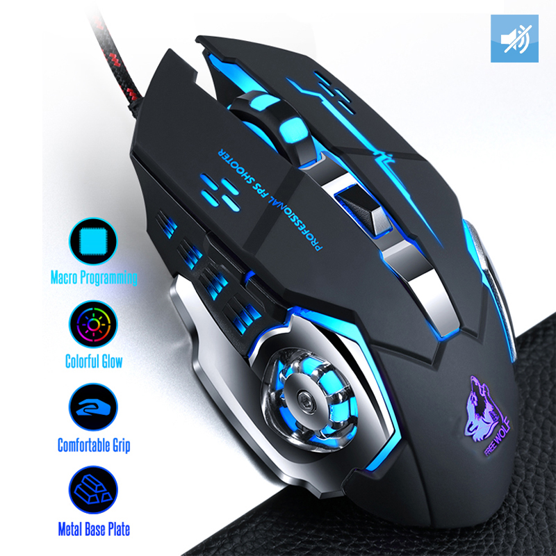 Beroep Wired Gaming Mouse 7 Knoppen 4000 Dpi Led Optical Usb Computer Muis Gamer Muizen Game Muis Stille Muis Voor pc Laptop title=