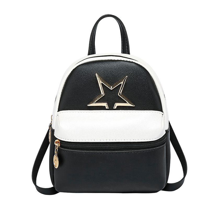 Cute Star Bag Women Girl PU Leather Mini Backpacks Casual Travel Portable Shoulder Backpacks Solid Black/Green/Red/Pink
