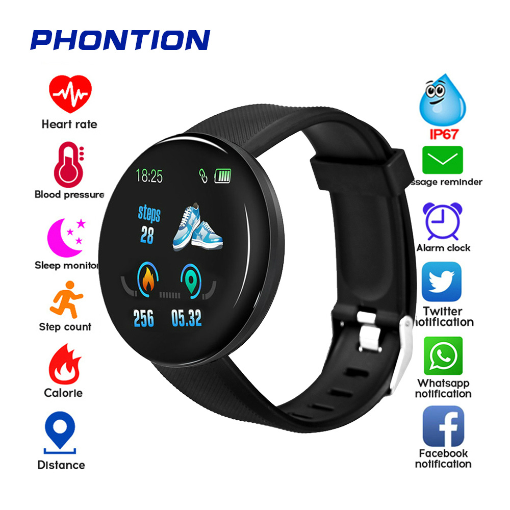 New D18 Bluetooth Smart Watches Waterproof Fitness Tracker Blood-Pressure Heart-Rate Monitor GPS For Women Men For IOS/Android