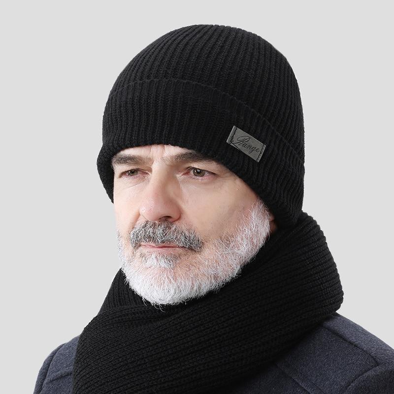 Зимняя шапка для пожилых людей 2020, одноцветная Вязаная Шапка бини, мужская осенне зимняя теплая удобная шапка, уличные аксессуары, толстая шапка|Женские Skullies и шапочки|   | АлиЭкспресс