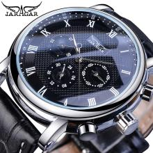 Jaragar Hot Sale Black Analog Mens Business Mechanical Watches 3 Sub Dial Date Genuine Leather Automatic Clock Relogio Masculino