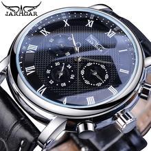 Jaragar Hot Sale Black Analog Mens Business Mechanical Watches 3 Sub Dial Date Genuine Leather Automatic Clock Relogio Masculino цены онлайн