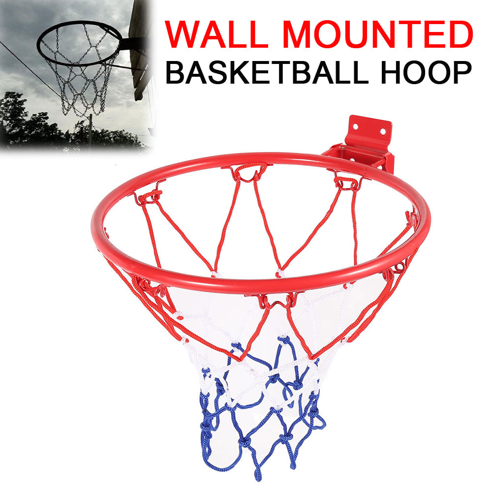 32cm Steel Basketball Hoop Hanging Wall Mounted Goal Hoop Rim Basketball Net Sports Netting Indoor Outdoor Adult Kids Play
