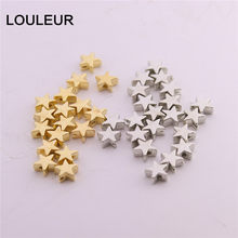 200pcs/lot 6*6mm Inside Hole 1mm CCB Gold Silver Color Star Spacer Beads End Caps Beads DIY Jewelry Making Findings Charm Beads(China)