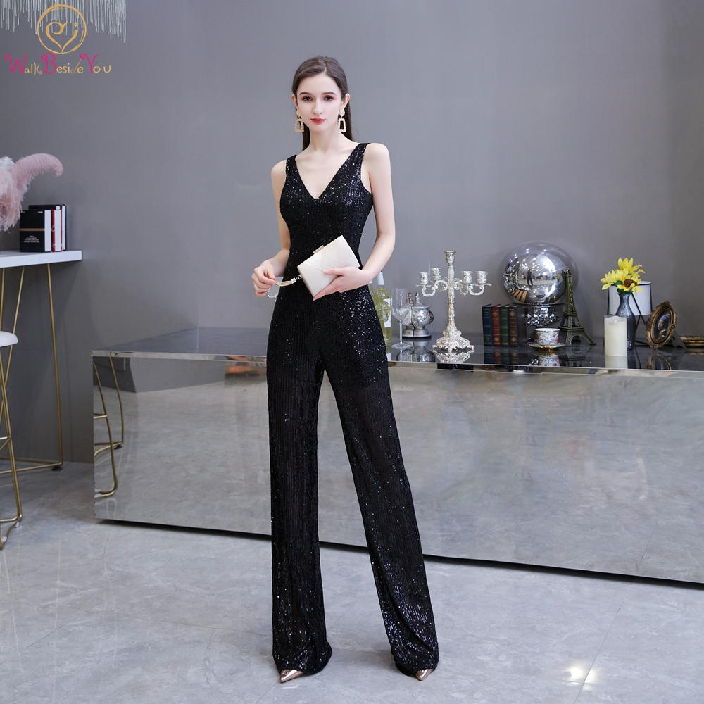 Black Sequin Evening Pants 2020 Silver Deep V Neck Backless Zipper Dress Sexy Sleeveless Long Party Suits Formal Prom Pants