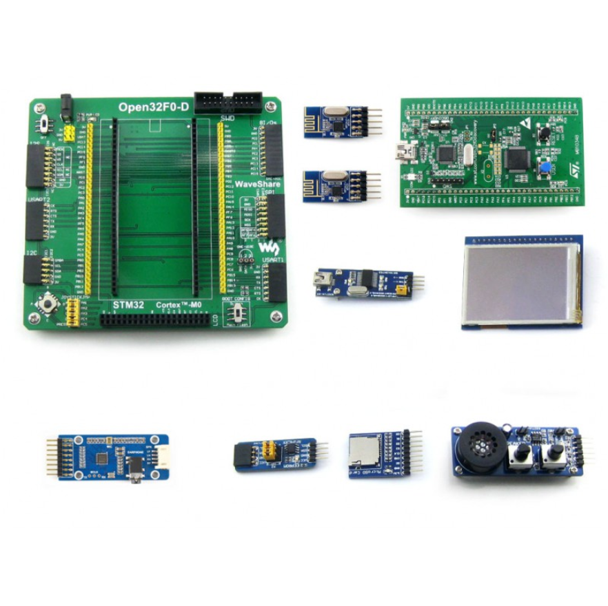 Open32F0-D Package A # ARM STM32 DISCOVERY Cortex-M0 STM32F051R8T6  With STM32F0DISCOVERY Kit+2.2inch Touch Screen LCD+7 Modules