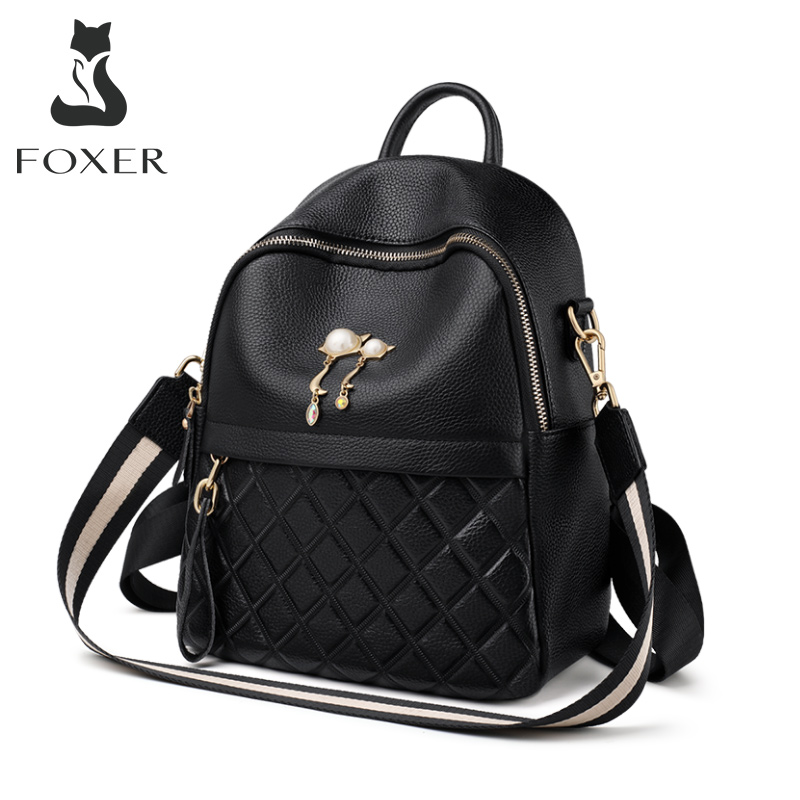 FOXER Teen School Satchel 100% Genuine Leather Ladies Travel Rucksack Stylish Vacation Backpack For Female Commuter Shoulder Bag