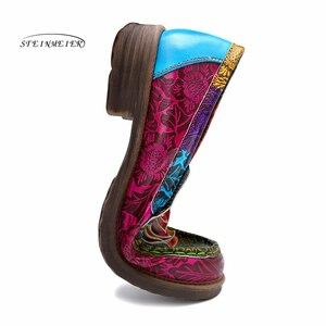 Image 4 - Las mujeres de cuero genuino oxford casual vintage Retro de la mujer, pisos zapatos hechos a mano zapatos de oxford para las mujeres de la primavera de 2020