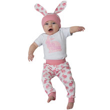 Newborn Baby Girl Boy Easter Clothing Cartoon First Easter 3D Bunny Romper Hat Pants Outfits Set Cute Rabbit Clothing For Babies(China)