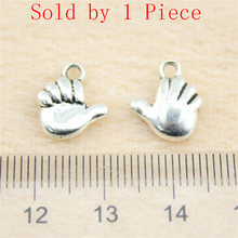 Sales Retail 1 Piece 13x12mm Cute Baby Hand Charms Charms For Bracelet Making Jewelry Crafts(China)