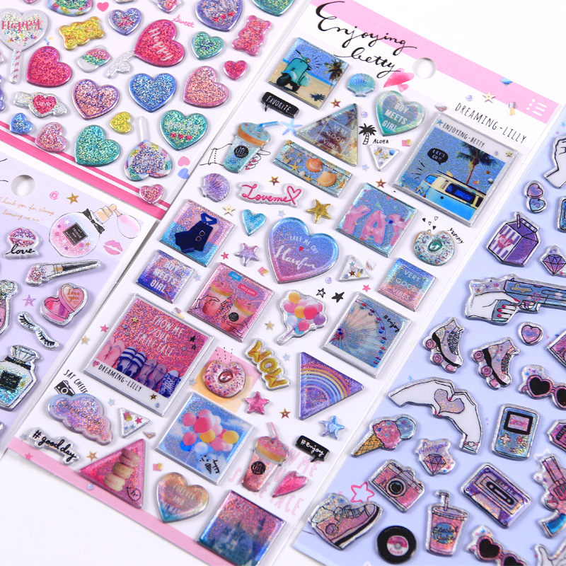 1pcs Kawaii Stationery Stickers Laser Shake Drink Diary Planner Decorative Mobile Stickers Scrapbooking DIY Craft Stickers
