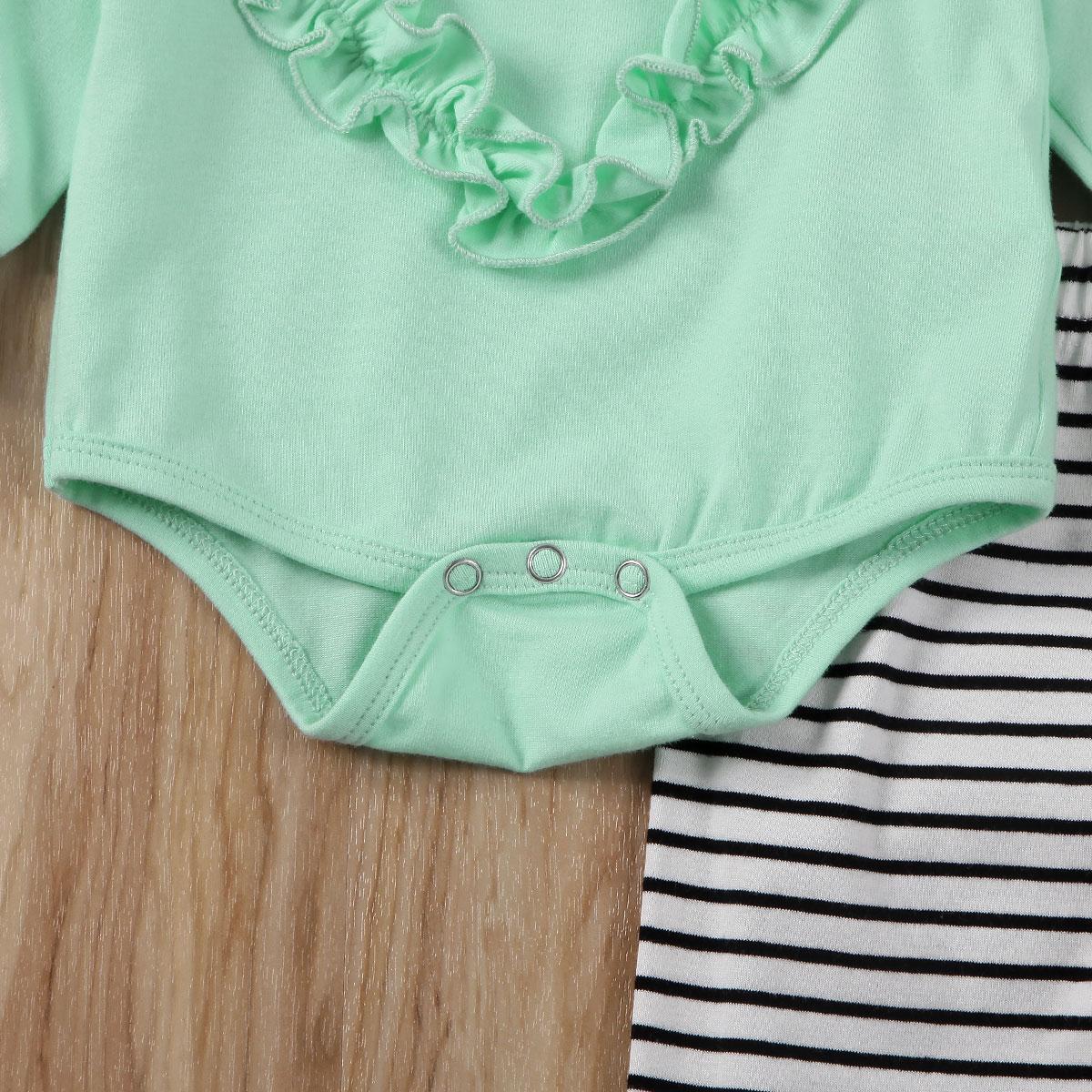Купить с кэшбэком Baby Girl Clothes 2020 Newborn Infants Baby Girl Long Sleeve Ruffles Heart  Bodysuit+Striped Pants Leggins Outfits Cotton