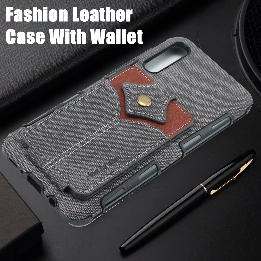 Vintage Fabric Wallet Phone Bag Case For Samsung Galaxy Note 10 Pro 9 8 Buckle Cover A20 A30 A50 A70 Cases
