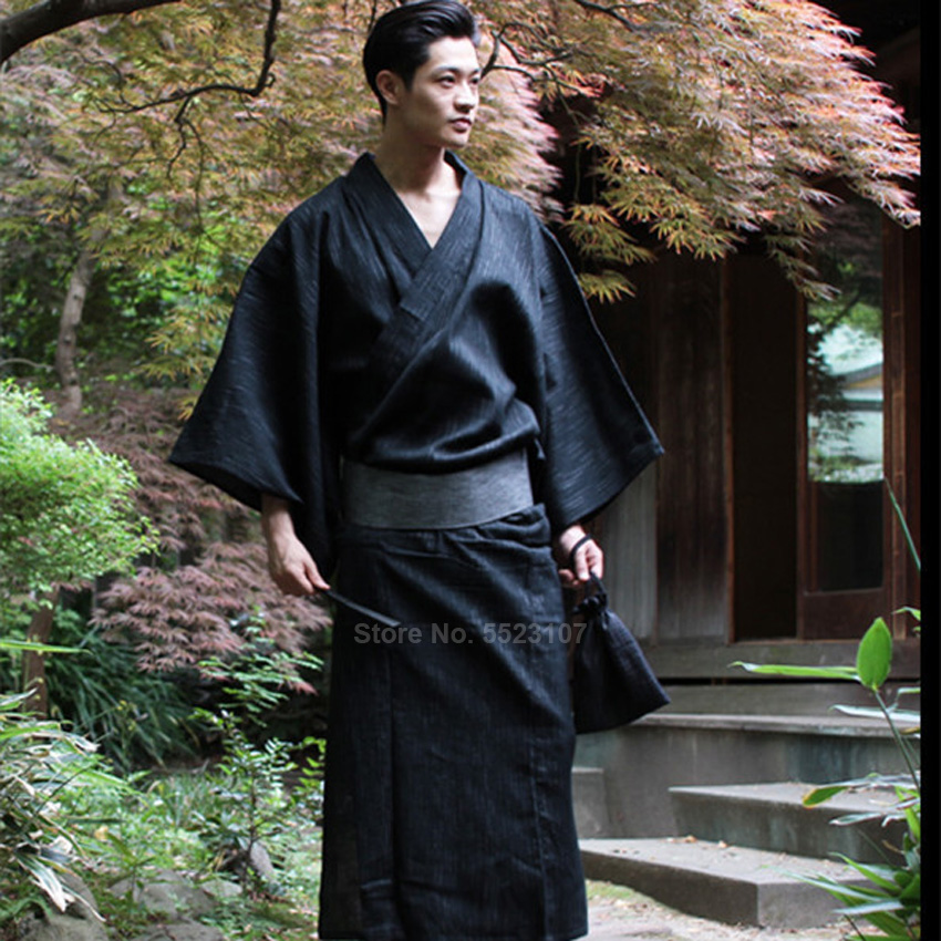 Traditional Japanese Kimono Yukata Mens 95% Cotton Dressing Gown Male Lounge Robes With Belt Plus Size Summer Pajamas Set