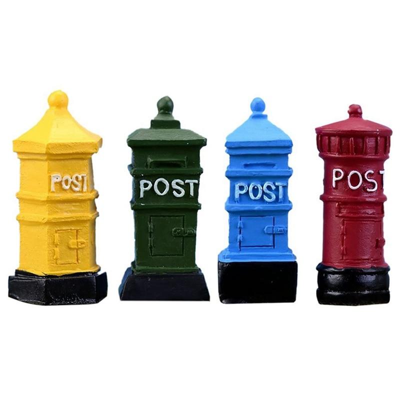 4 PCs Miniature Fairy Garden Mailbox Postbox Style Dollhouse DIY Micro-Landscape Terrarium Plant Pot Desk Home Decor Ornament Ac
