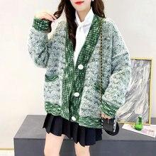 Único breasted padrão camisola feminina 2020 novo outono inverno jovem estilo doce decote em v cardigan outwear elegante knitt