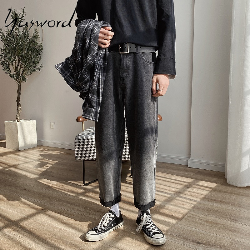Yasword Men Jeans Classic Denim Pants Loose Cotton Jeans Spring Autumn Trousers Casual Fashion WashedPants Straight Pants