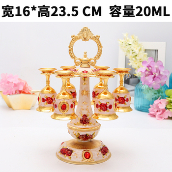 European glass shelf alloy goblet glass frame glass wine cup upside down Russian suit