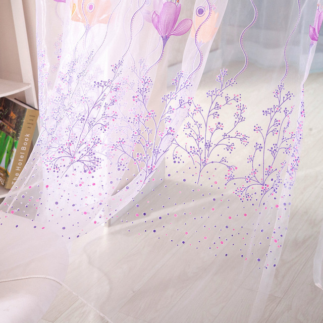 1 Panel Fabric Colorful Lotus Sheer Curtain High Quality Tulle Window Treatment Voile Curtain Drape Valance For Living room 5