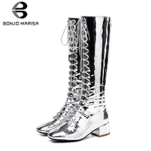 BONJOMARISA New Luxury Brand Metalic Knee High Boots Women 2019 Autumn lace-up Party Wedding Med Heels Shoes Woman