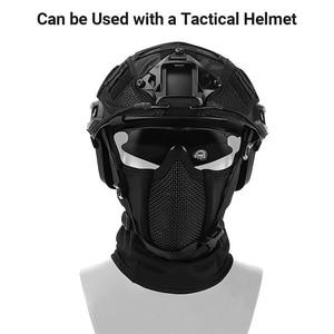 Image 3 - قناع تكتيكي Airsoft كامل الوجه من الفولاذ الشبكي قناع من البوليستر للاكلافا والصيد CS خوذة واقية للركوب