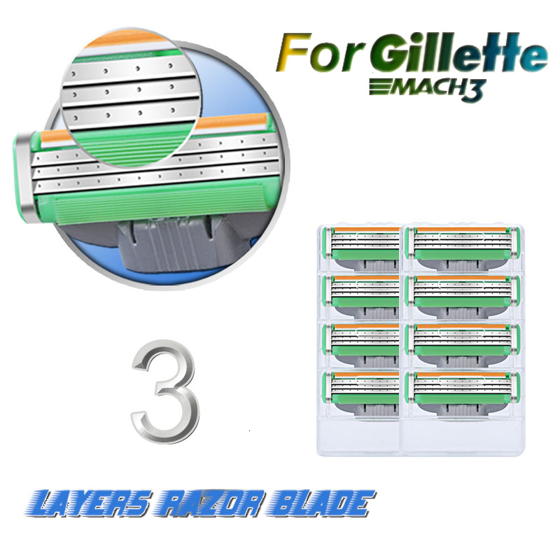 Men Razor Blades For Gillettee Mache 3 Shaving Blade Stainless Steel Replaceable Cassettes Male Face Care 12Pcs Or 16Pcs / Pack