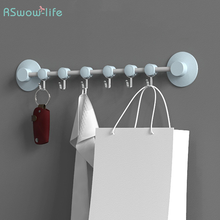Nordic Style Nail-Free Wall-Mounted Movable Row 6-Hook Punch-Free Toilet Strong Sucker Bathroom Door Hooks Towel Keys Hanger