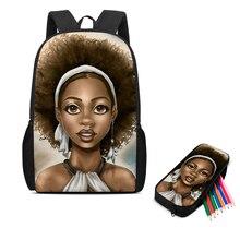 Изображения изготовленный на заказ черная девочка афро мультфильм 2шт набор ранцы для подростков девушки путешествия студент школа книга мешок дети рюкзак Рюкзак