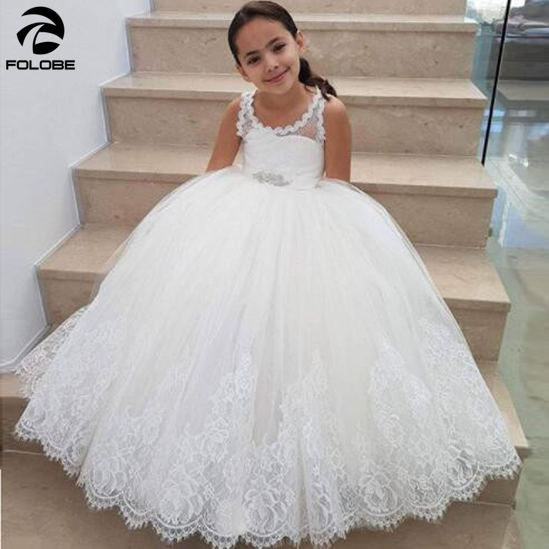 White/ivory backless soft tulle   flower     girl     dresses   for wedding party lace appliques ball gown floor length brithday gowns