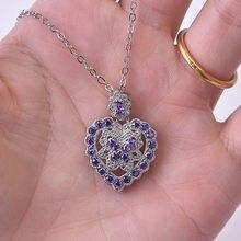 Серебряное Ожерелье s925 подвеска в форме сердца с бриллиантами