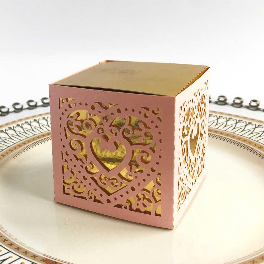 50 шт., черный/белый/розовый/синий/красный лазерный полый набор коробок для любви, золотой поднос, Свадебная коробка для конфет, Подарочная коробка, косметическая упаковочная коробка