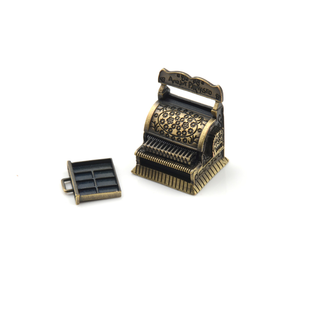 Vintage Metal Cash Register Miniature for <font><b>1</b></font>:<font><b>12</b></font> Dollhouse Accessories <font><b>1</b></font>/<font><b>12</b></font> Furniture for Doll Home Decoration image