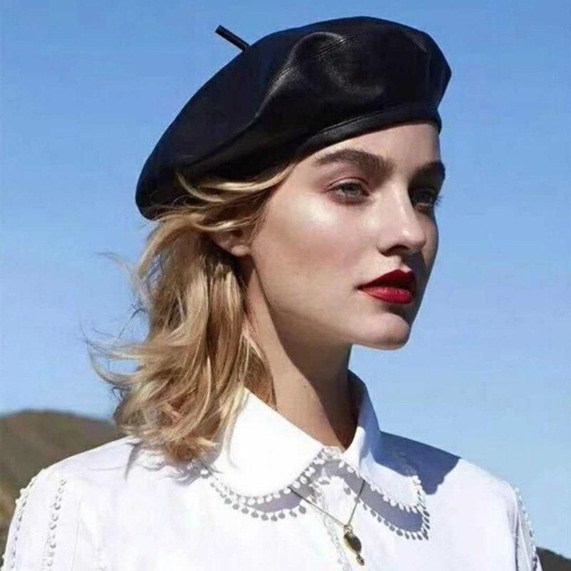 Берет из искусственной кожи для девушек, Модный повседневный черный Берет из искусственной кожи, теплая шапка во французском стиле, женский...