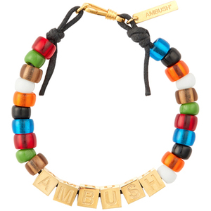 Image 2 - AMBUSH 925 Square letters colorful glazed beads hip hop bracelets fashionable couples Exquisite box packing