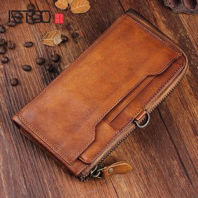 AETOO الأصلي الرجال الرجعية vintage جلد هاتف محمول محفظة متعددة بطاقة بت حقيبة يد جلدية طويلة سستة ضئيلة