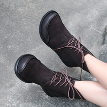 Original 2019 New Cowhide Ankle Boots Genuine Leather Handmade Women's Boots Round Toe Big Toe Low Heels Strap Comfortable Shoes цена 2017